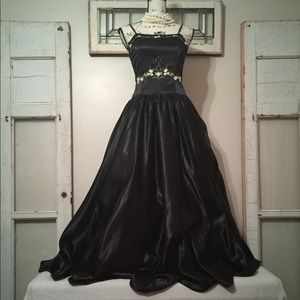 Black Satin Formal Gown